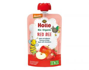 HOLLE Gourde Red Bee Pomme Fraise - 100 g - Dès 8 mois
