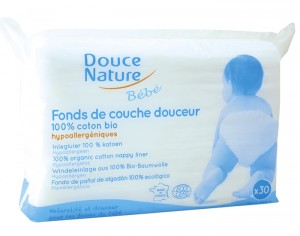 DOUCE NATURE Fond de Couche Douceur en Coton Bio - Lot de 30