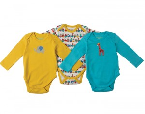 FRUGI Lot de 3 Bodys Manches Longues - Balade en Train