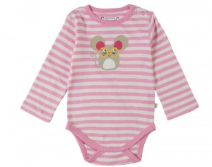 FRUGI Body Manches Longues - Rayé Rose Souris