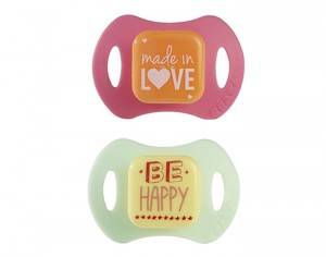 BEABA Lot de 2 Sucettes Silicone - Love and Happy