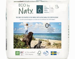 NATY Culottes d'Apprentissage Jetables ECO - Taille 6 Junior+ - +16 kg Paquet de 18 couches