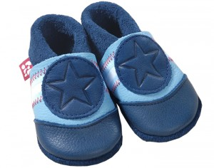POLOLO Chaussons en Cuir - �toile Bleue