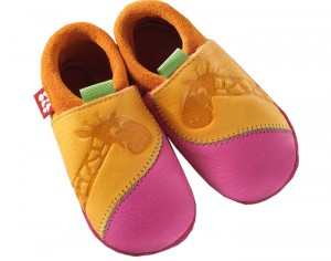 POLOLO Chaussons en Cuir - Girafe Orange-Rose