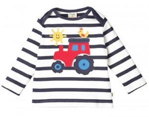 FRUGI T-Shirt Manches Longues à Rayures Marin - Tracteur