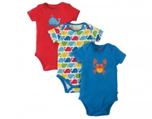 FRUGI Lot de 3 Bodys Manches Courtes Coton Bio - Baleines Multicolores