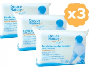 DOUCE NATURE Fond de Couche Douceur en Coton Bio 1 paquet de 30 fonds de couches