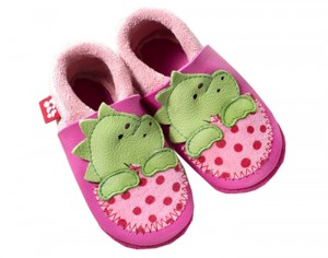 POLOLO Chaussons en Cuir - Dino - Rose