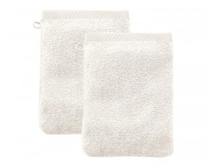 LIVING CRAFTS Lot de 2 Gants de Toilette - Ecru - 22 x 16 cm