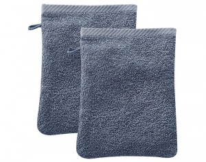 LIVING CRAFTS Lot de 2 Gants de Toilette - Bleu - 22 x 16 cm