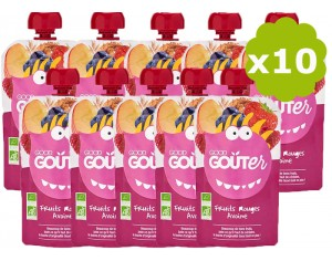GOOD GOUTER Gourde de Fruit - Fruits Rouges, Avoine - Dès 36 mois - 10 x 120 g