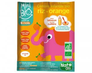 NAT-ALI Mini Bio Céréales Infantiles Riz Orange - 2 x 8 g