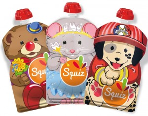 SQUIZ Lot de 3 Gourdes Souples Réutilisables Smile - 130 ml