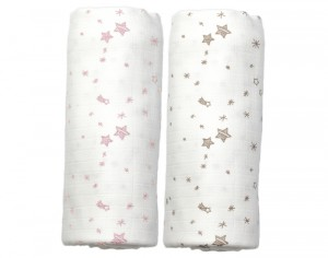 PEPPA Lot de 2 Langes - Etoiles Roses et Taupes - 120 x 120 cm