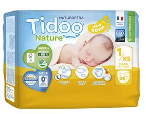 TIDOO Couches Écologiques Nature x2 - Taille 1 / 2-5 kg / 2x26 couches