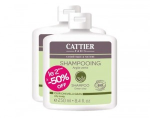 CATTIER Lot de 2 Shampooings Argile Verte - 2 x 250 ml