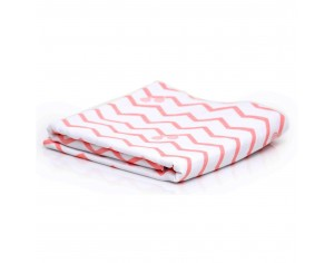 GLOOP Couverture-Plaid en coton bio 100x70cm - Motif Chevrons Corail