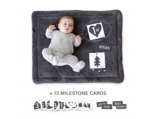 BEMINI Tapis de parc 75x95cm Softy Cartes Photo Gris anthracite Pingu
