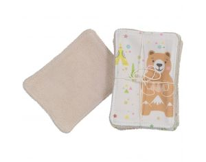 CHOUCHOUETTE Lot de 5 Lingettes lavables fox and bear coloré