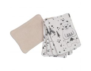 CHOUCHOUETTE Lot de 5 Lingettes lavables fox and bear noir et blanc