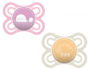 MAM Lot de 2 Sucettes Perfect en Silicone - 0-6 mois Rose-Blanc