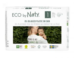 NATY Couches Écologiques Eco by Naty - Pack Economique x2 T1 / 2-5 kg / 2 x 25 couches