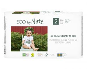 NATY Couches Écologiques Eco by Naty - Pack Economique x2 T2 / 3-6 kg / 2 x 33 couches