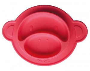 NUBY Assiette Anti-Dérapante Silicone - Singe - Rouge