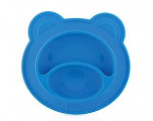 NUBY Assiette Anti-Dérapante Silicone - Ours - Bleu