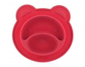 NUBY Assiette Anti-Dérapante Silicone - Ours - Rouge
