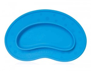 NUBY Assiette Anti-Dérapante Silicone - Haricot - Bleu