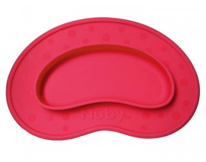 NUBY Assiette Anti-Dérapante Silicone - Haricot - Rouge
