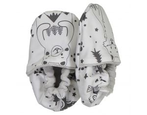 CHOUCHOUETTE Chaussons souples 0-6 mois fox and bear nb
