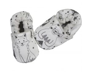 CHOUCHOUETTE Chaussons souples 6-12 mois fox and bear nb