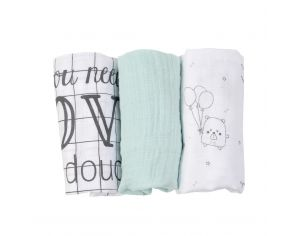 LITTLE CREVETTE Lot de 3 langes Doudou