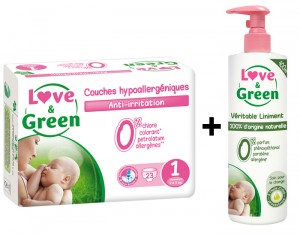 LOVE & GREEN Pack Couches Jetables 1 Paquet T1 2-5 kg + 1 Liniment 400 ml