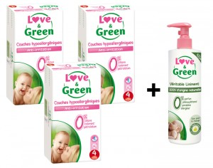 LOVE & GREEN Pack Couches Jetables 3 Paquets T4 7-14 kg + 1 Liniment 400 ml
