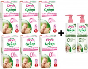 LOVE & GREEN Pack Couches Jetables 6 Paquets T4 7-14 kg  + 2 Liniments 400 ml