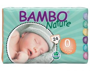 BAMBO NATURE Pack x6 Couches Écologiques Nature T0 / 1-3 kg / 6 x 24 couches