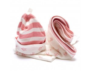 BEST YEARS Ensemble Bonnet et Couverture en Coton Bio - Rose