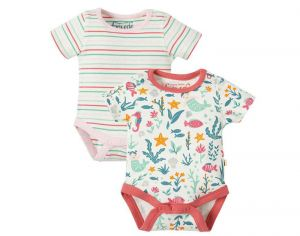 FRUGI Lot de 2 Body Manches courtes - Fonds Marins