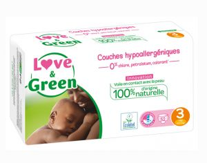 Couches Love & Green 0% - Couches Écologiques - x3 paquets T3 / 4-9 Kg / 3 x 52 couches