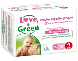 LOVE & GREEN Couches Écologiques 0% x3 T4 / 7-14 Kg / 3 x 46 couches