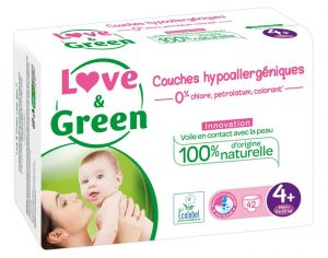 Couches Love & Green 0% - Couches Écologiques - x3 paquets T4+ / 9-20 Kg / 3 x 42 couches