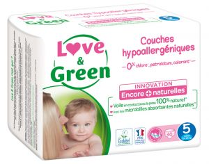 Couches Love & Green 0% - Couches Écologiques - x3 paquets T5 / 12-25 Kg / 3 x 40 couches