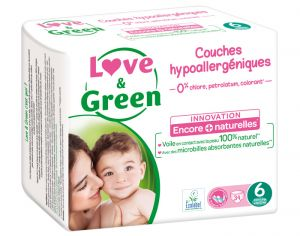LOVE & GREEN Maxi Pack Eco - Couches Jetables T6 + 16 Kg - 3 x 34 soit 102 couches
