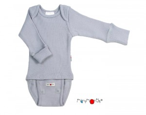 MANYMONTHS Body Manches Longues - Laine Mérinos - Bright Silver