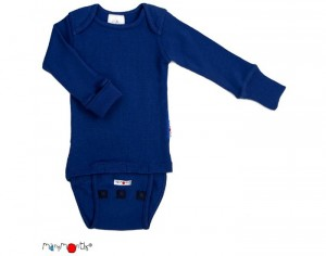 MANYMONTHS Body Manches Longues - Laine Mérinos - Jewel Blue