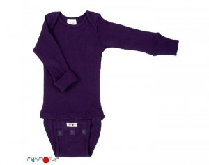 MANYMONTHS Body Manches Longues - Laine Mérinos - Majestic Plum
