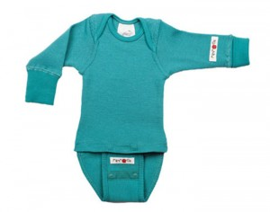 MANYMONTHS Body Manches Longues - Laine Mérinos - Royal Turquoise Taille 0-3 mois